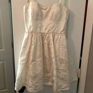 Strapless white party dress